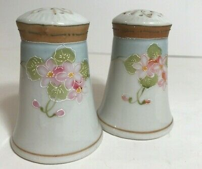 Antique Nippon Hand Painted Salt Pepper Shaker Pink Flowers Moriage Gold Beaded