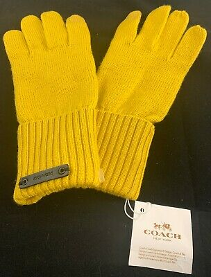 New-with-Tags Women's Coach 77728 Banna Yellow Knit Tech Gloves, Size XS/S