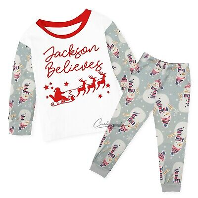Personalised Believes Christmas Pyjamas Baby Kids Any Name Xmas Eve Box 135