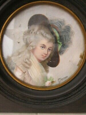 Antique French Miniature Painting Hand Painted Portrait, 19th century, Signed