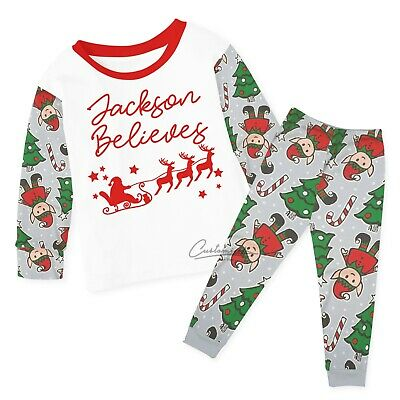 Personalised Believes Christmas Pyjamas Baby Kids Any Name Xmas Eve Box Elf 135