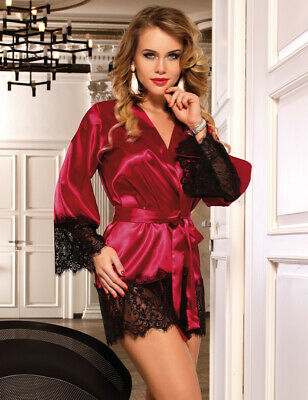 Valentines Lady Satin Red Robe Dressing Gown Lingerie Nightwear Size 12-22 Uk