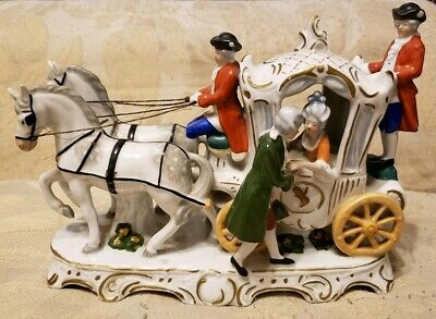 Antique German Horse And Carriage Porcelain Figurine (7.5×10.5)