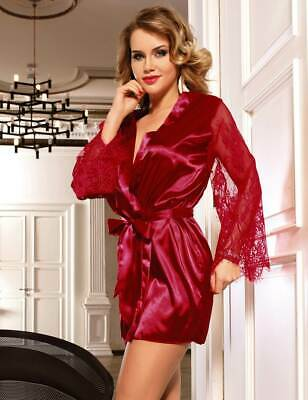 Valentines Lady Satin/Lace Red Robe Dressing Gown Kimono Lingerie Size 12-22 Uk