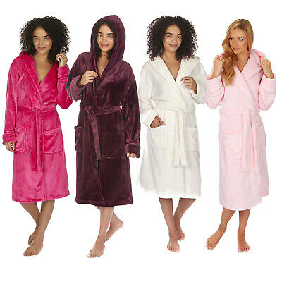 Ladies Luxury Hooded Dressing Gown Soft Warm Fleece Girls Womens Robe Housecoat