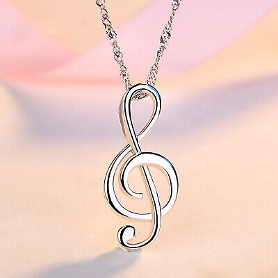 REAL SOLID SILVER 925  Classic Sterling Silver Necklace & Pendant Music Note-037