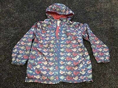 Evie Angel Girls Blue With Bird Design Thin Hooded Coat / Jacket Age 6 Years