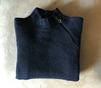 POLO RALPH LAUREN Navy Cashmere Chunky Knit Turtle Neck Jumper, XXS (Pre-owned)