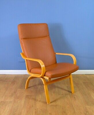 Mid Century Retro Vintage Danish Tan Leather Lounge Armchair (2 Available) 1970s