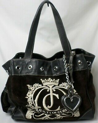 top quality on feet images of fast delivery JUICY COUTURE BLACK Velour Leather Trim Charms Pocket Purse ...