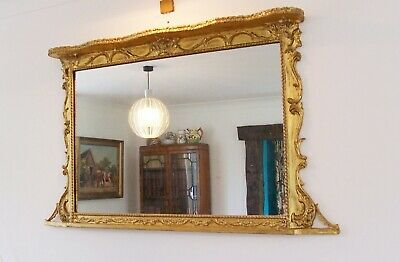 Antique Gilt Frame Over Mantle Wall Mirror Perfect Size Fully Restored