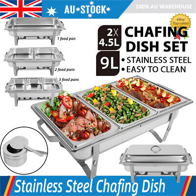 9L/4.5L*2 Multi Stainless Steel Bain Marie Chafing Dish Buffet Food Warmer New