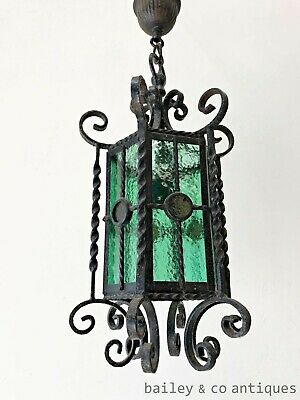 Antique French Hanging Lantern Light Wrought Iron & Coloured Glass - OF524