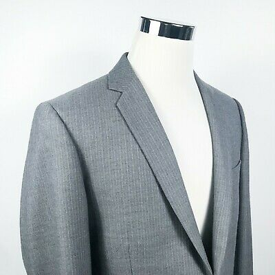 J Crew Mens 42R Thompson Sport Coat Gray Striped Wool Blend Two Button Vented