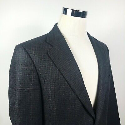 Brooks Brothers 40R Sport Coat Wool Alpaca Blue Green Houndstooth Two Button