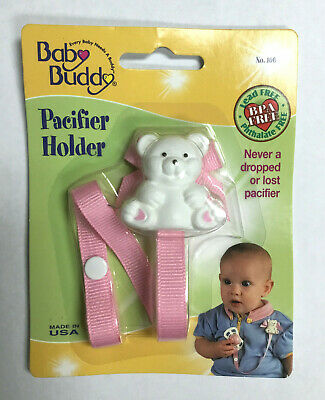 Baby Buddy Bear Pacifier Holder 2ct for 0-36 months Pink //White
