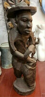 1940's Black Americana Man Playing Drum Hand Carved Wooden Statue