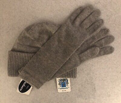 Portolano Italy Women's Cashmere Ribbed Knit Beanie Hat and Gloves NWT