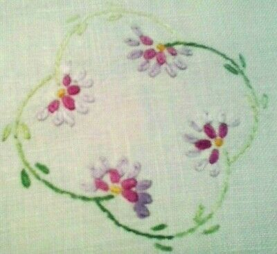 Cute Hand Embroidered Vintage Linen Doily