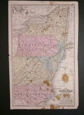 vintage map 1852 Middle States USA Mitchell Maps