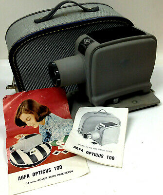 VINTAGE AGFA OPTICUS 100 SLIDE VIEWER With Booklet Instructions Case Working