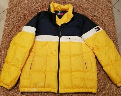 VINTAGE TOMMY HILFIGER Yellow Winter Puffer Jacket Mens Size