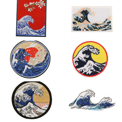 Ocean Waves DIY Iron on Patch Japanese Ukiyo-e Embroidered Badge Applique Fabric