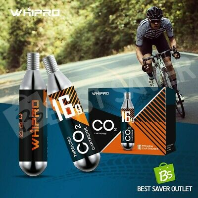 Whipro 10 Pack CO2 Cartridges Threaded 16g Bike Bicycle Gas Tank Tyre Canister