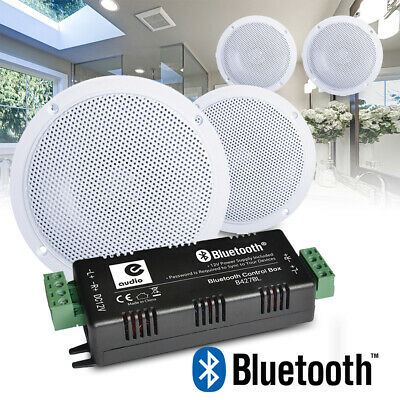 4x Kitchen and Bathroom Ceiling Speakers Wireless Bluetooth Amplifier Home Audio