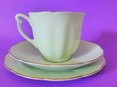 Glade Green Bone China Tea Cup Trio, Vintage 1960s Teacup, Saucer & Cake Plate