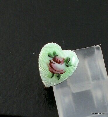 Vintage Sterling Pink Roses on Green Guilloche Enamel Heart Earring Single