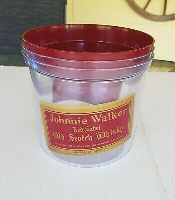 Johnnie Walker Red Label Old Scotch Whisky Large Vintage Ice Bucket & Tongs