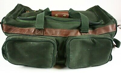 """ORVIS Battenkill 24"""" Rolling Duffle Bag With Wheels Luggage Green Canvas Leather"""