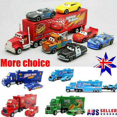 Cars 2 Lightning McQueen Racer Car&Mack Truck Collection Toy Kids Gift 7Pcs XD