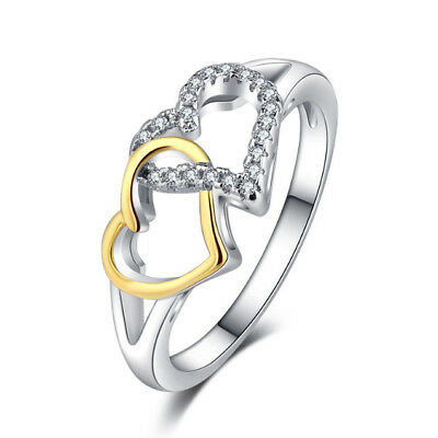 Charm Heart Women's Wedding Rings Two Tone 925 Silver White Sapphire Ring Size10