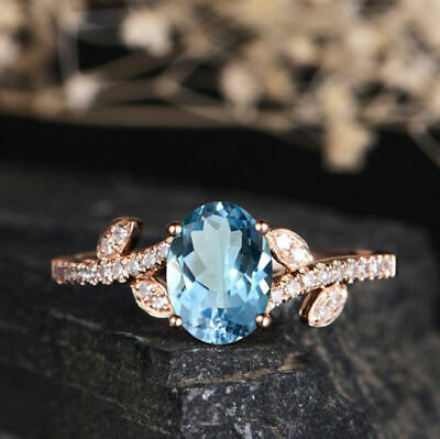 Gorgeous Rose Gold Filled Round Cut Aquamarine Women Cocktail Rings Size 6