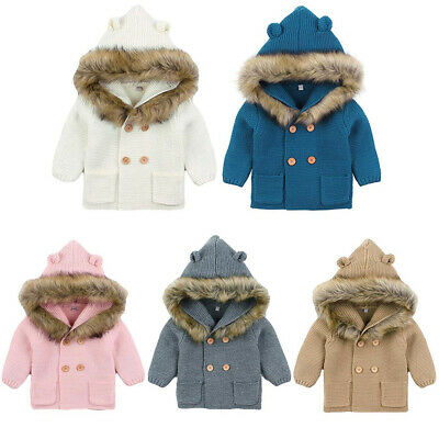 Hooded Jacket Baby Boy Girl  Cardigan Coat Bottom Sweater Clothes