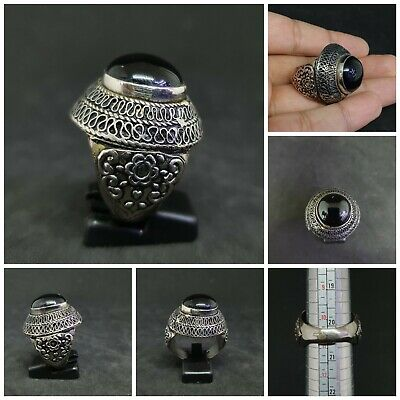 Wonderful Silver Plated Old Ring With Black Agate Stone#