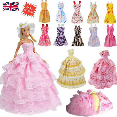 Gown Dress Clothes Set For Barbie Dolls Wedding Party Prom Causal Decor 12Pcs  -