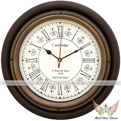 """Vintage Handcrafted 12"""" Cambridge Wooden Round Wall Clock Home Office Decorative"""