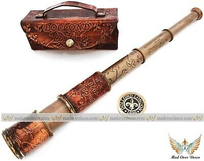 """Vintage Antique Brass 14"""" Dollond London Telescope Marine Scope W Leather Cover"""
