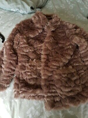 Girls Fake Fur Smart Jacket age 7-8 M&S excellent condition