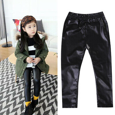 UK New Toddler Kids Baby Girl Stretchy Faux Leather Leggings Trousers Long Pants
