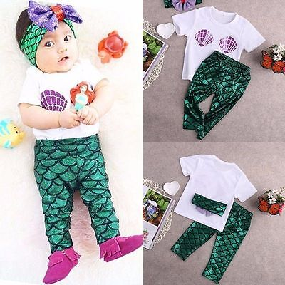 Infant Baby Girls Mermaid T-Shirt Top Pants Headband Outfits Set Clothes Costume