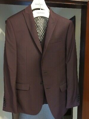 Mens Limehaus 3 piece suit. Plum colour. Only worn twice, superb condition