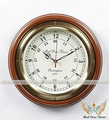 """Vintage Style 1837 Buckingham 16"""" Home Office Wall Decorative Round Wooden Clock"""