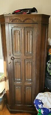 Very attractive narrow & small antique art deco wardrobe, shelf and rail.