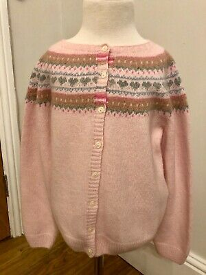Trotters Confiture Pink Fair Isle Cardigan girls age 8-9yrs wool/cashmere mix