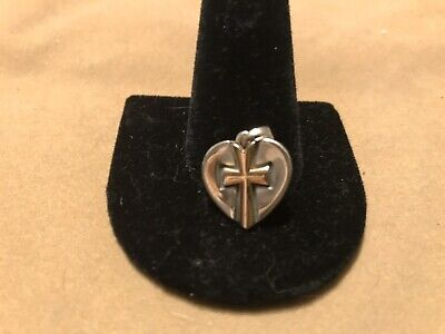 James Avery Retired 14K Gold Sterling Silver Heart Raised Cross Pendant