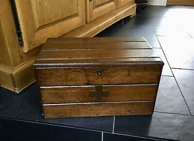 LARGE Antique Oak? Campaign Medicine Chest Apothecary Box First Aid Box
